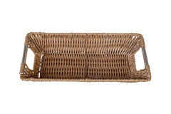 Empty wicker basket isolated on white background, top view Stock Images