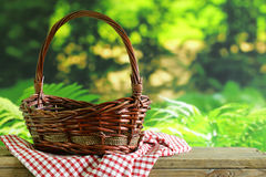 Empty wicker basket and plaid for picnic Royalty Free Stock Photo