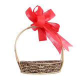 Empty wicker basket with red bow Stock Images