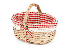 Empty wicker basket with red linen lining, Royalty Free Stock Photos