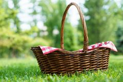 Empty wicker basket with red tablecloth on green grass in a park. Natural background. Copy space royalty free stock image