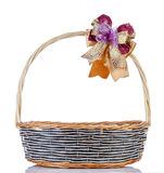 Empty wicker basket with ribbon Stock Photography