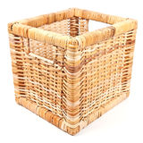 Empty wicker basket on white Stock Image