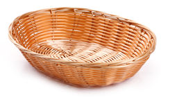 Empty wicker basket. On a white background Stock Images