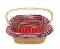 Empty wicker basket. On white background Stock Images