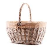 Empty wicker basket on white background Stock Photography