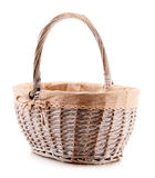 Empty wicker basket on white background Stock Image