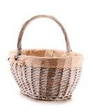 Empty wicker basket on white background Royalty Free Stock Image