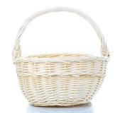 Empty wicker basket on white. Empty wicker basket on a white background Royalty Free Stock Photography
