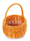 Empty wicker basket on white Royalty Free Stock Photography