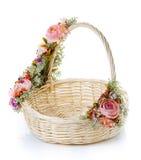 Empty wicker basket on white. Empty wicker basket on a white background Royalty Free Stock Photos