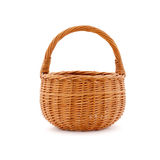 An empty wicker basket on a white background. royalty free stock images