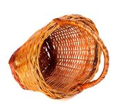 Empty wicker basket on white background. Royalty Free Stock Photo