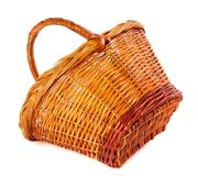 Empty wicker basket on white background Royalty Free Stock Photos
