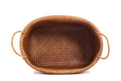 Empty wicker basket on white background Stock Photos