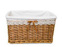 Empty wicker basket on white Royalty Free Stock Photo