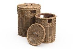 Empty wicker baskets decorative Stock Photography