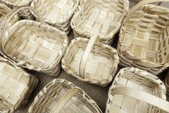 Empty wicker baskets Stock Photos