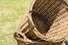 Empty wicker baskets Stock Images