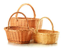 Empty wicker baskets isolated on white Royalty Free Stock Photo