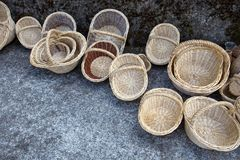 Empty wicker baskets for mushroom picking stock images
