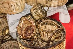 Empty wicker baskets for sale royalty free stock photos