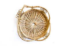 An empty wicker dish. On white background Stock Image