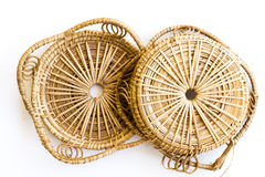An empty wicker dish. On white background Royalty Free Stock Photo