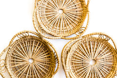 An empty wicker dish. On white background Royalty Free Stock Image