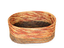 Empty wicker round basket with on a white stock image