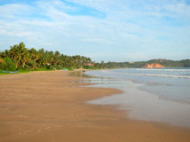Empty wide beach with palms, Weligama, Sri Lanka Royalty Free Stock Images