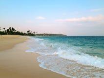 Empty wide clean beach with palms, Mirissa, Sri Lanka Royalty Free Stock Photos