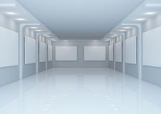 Empty wide gallery hall Royalty Free Stock Images
