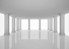 Empty wide hall with columns, open space Stock Photo