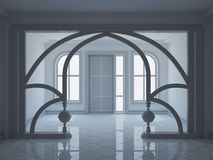 Empty wide hall with decorative partition Stock Photos