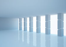 Empty wide hall with futuristic columns Stock Photography