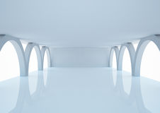 Empty wide room with arched columns Stock Photo
