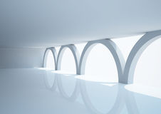 Empty wide room with arched columns Royalty Free Stock Image