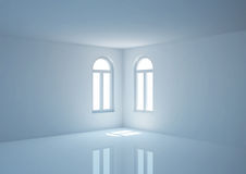 Empty wide room with arched windows, angular view Stock Image