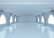 Empty wide room with balks and arched windows Royalty Free Stock Images