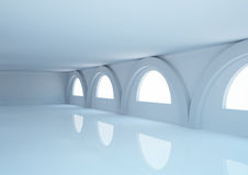 Empty wide room with balks, arched windows and columns Royalty Free Stock Photo