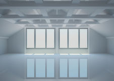 Empty wide room with balks in the loft Royalty Free Stock Images