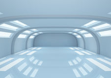 Empty wide room with balks and narrow openings Stock Photo