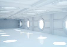 Empty wide room with balks and round skylights Royalty Free Stock Images