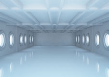 Empty wide room with balks and round windows Royalty Free Stock Images