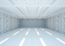 Empty wide room with balks and round windows Stock Image