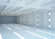 Empty wide room with balks and round windows Royalty Free Stock Photo