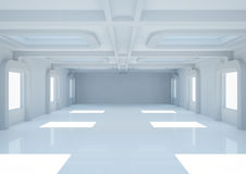 Empty wide room with balks and skylights Stock Images