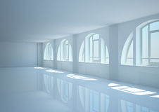 Empty wide room with big arched windows Stock Photos