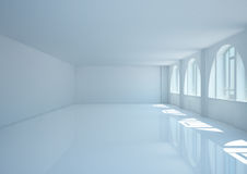 Empty wide room with big arched windows Royalty Free Stock Photo